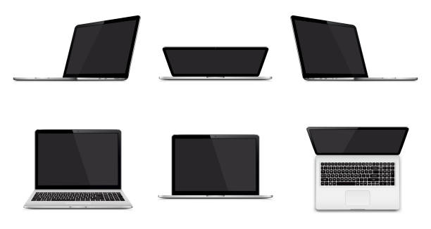 set of modern laptop with blank screen isolated on white background - angle stock illustrations