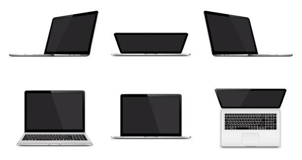 Satz von modernen Laptop mit leeren Bildschirm isoliert auf weißem Hintergrund – Vektorgrafik