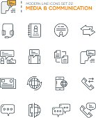 Set of Modern Line icons of Media & Communication icons
