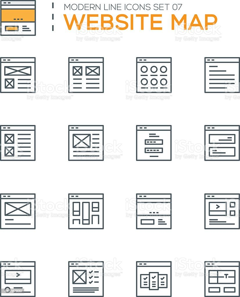 Set of Modern Line icons of Website map icons vector art illustration