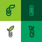 Set of modern line logo mark templates of sprout with leaf and paper clip