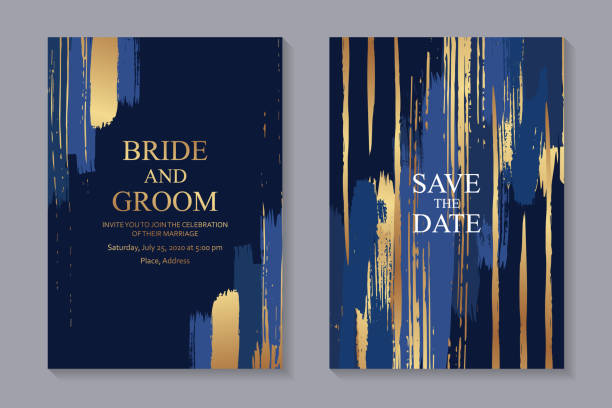 Set of modern luxury wedding invitation design or card templates for business or presentation or greeting. Set of two cards with grunge and blue golden paint brush strokes on a navy background. blue borders stock illustrations
