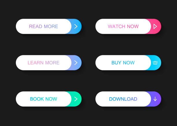 一套現代材料風格按鈕。不同的漸變顏色。現代向量例證平的樣式 - 按鈕 幅插畫檔、美工圖案、卡通及圖標
