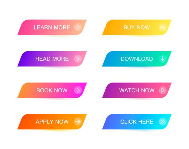 illustrazioni stock, clip art, cartoni animati e icone di tendenza di set di pulsanti moderni in stile materiale per sito web, app mobile e infografica. colori sfumati diversi. stile piatto illustrazione vettoriale moderna - tastierino numerico