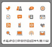 Set of modern media icons in orange and gray