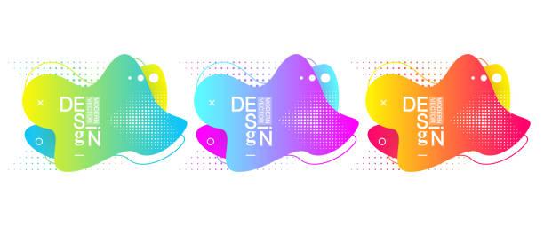 Set von modernen minimalen Flüssigkeit Gradientspritzen Spritzer mit dynamischen Farben. Vektor-Design für Abdeckung, Grußkarte, Poster, Flyer, Präsentation. Moderner grafischer Hintergrund – Vektorgrafik