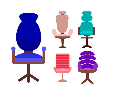 set of modern office chairs and chairs isolated on a white background. Vector illustration in flat style. Collection of furniture for office