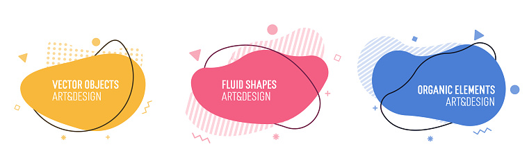 Set of modern organic shapes. Fluid vector trendy elements. Template graphics with liquid geometric boxes and frames to put your own text