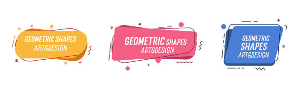 Set of modern organic shapes. Fluid vector trendy elements. Template graphics with geometric speech bubbles and banners with frames to put your own text Vector eps10 カラフル stock illustrations