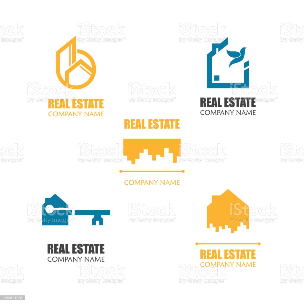 set of modern real estate logo template abstract house logotype icon