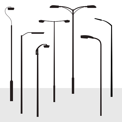 Set of modern road lantern silhouettes