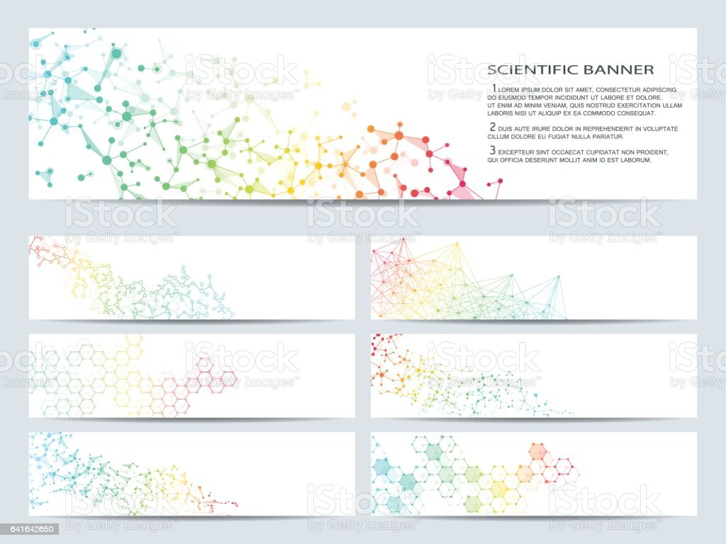 Set of modern scientific banners. Molecule structure DNA and neurons. Abstract background. Medicine, science, technology, business, website templates. Scalable vector graphics royalty-free set of modern scientific banners molecule structure dna and neurons abstract background medicine science technology business website templates scalable vector graphics stock illustration - download image now