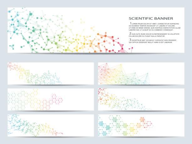 ilustrações, clipart, desenhos animados e ícones de conjunto de bandeiras científicos modernos. molécula estrutura adn e neurônios. abstrato. medicina, ciência, tecnologia, negócios, modelos de site. gráficos vetoriais escaláveis - planos de fundo de ciências