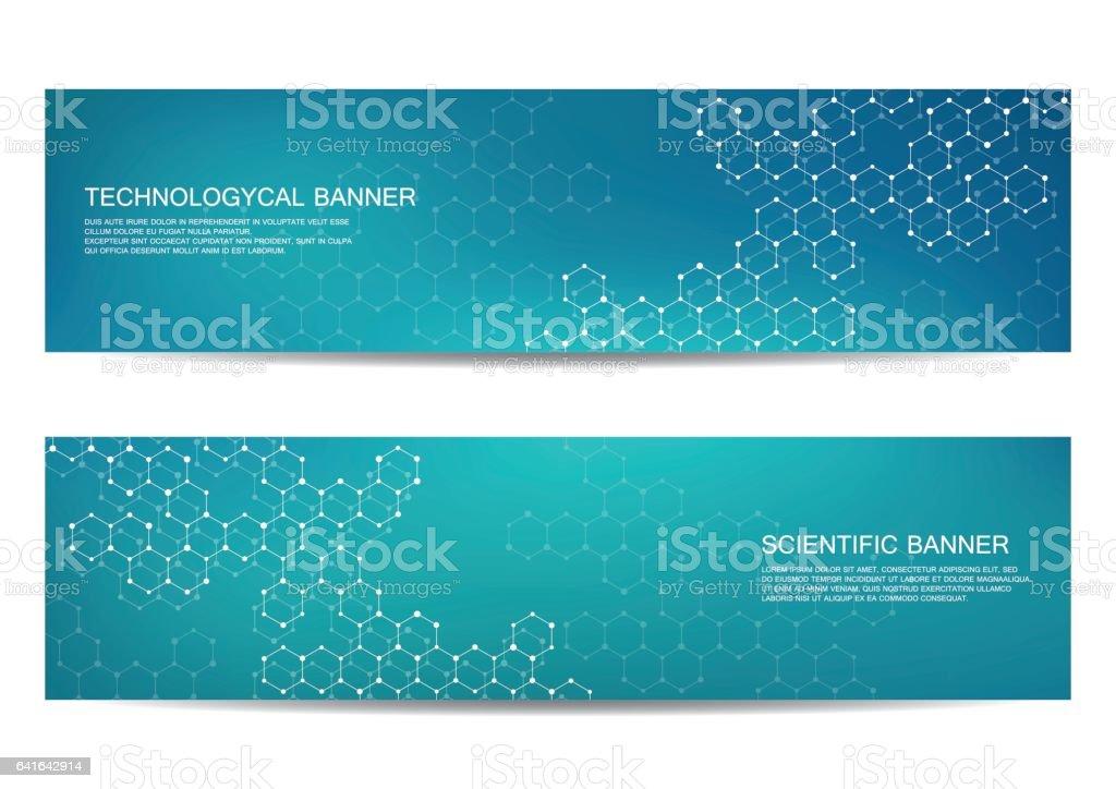 Conjunto De Banners Científicas Moderna Molécula Estructura
