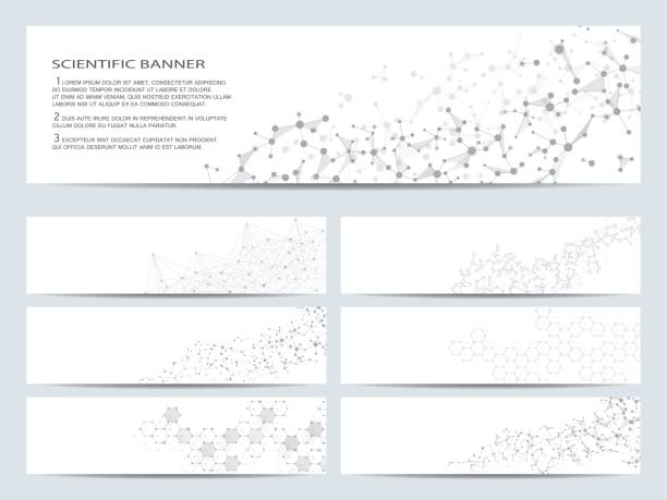 set of modern scientific banners. molecule structure dna and neurons. abstract background. medicine, science, technology, business, website templates. scalable vector graphics - bio tech stock illustrations, clip art, cartoons, & icons