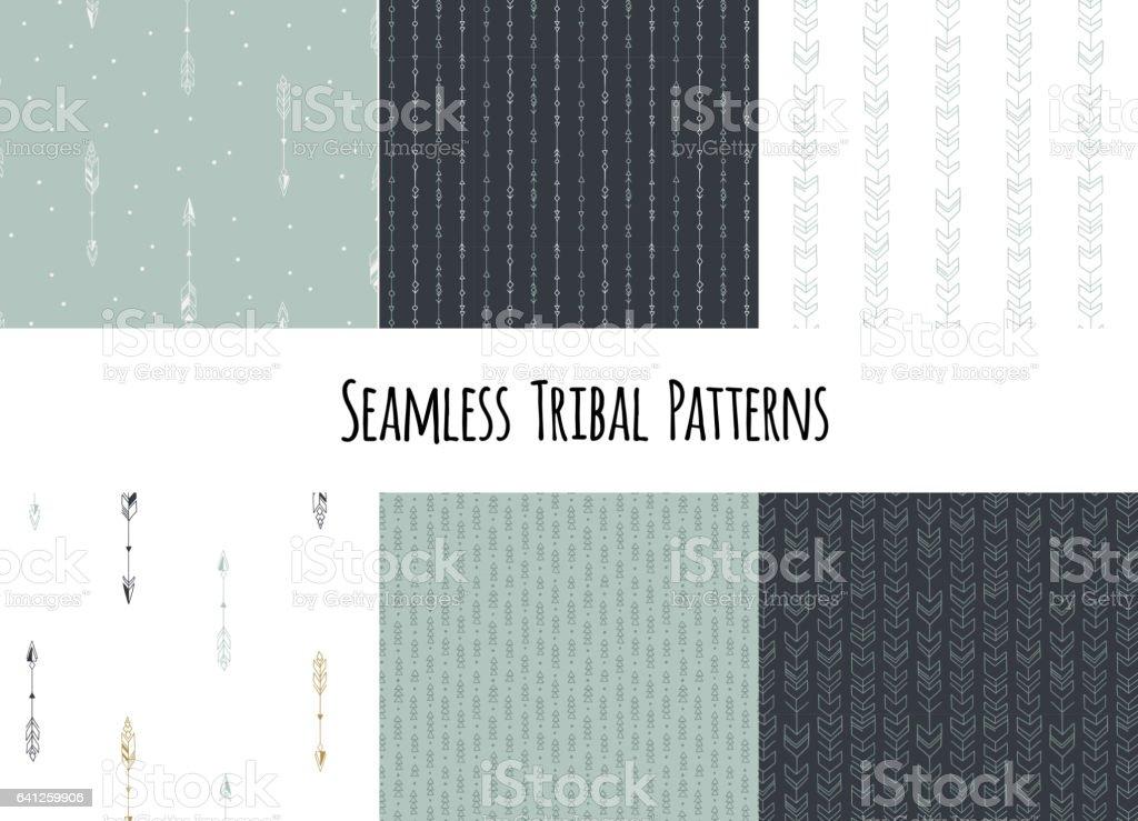Conjunto De Patrones Tribales Geométricos Dibujados A Mano Sin ...