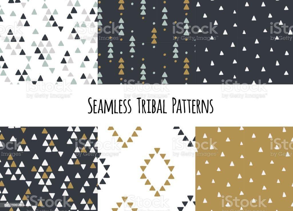 Ilustración de Conjunto De Patrones Tribales Geométricos Dibujados A ...