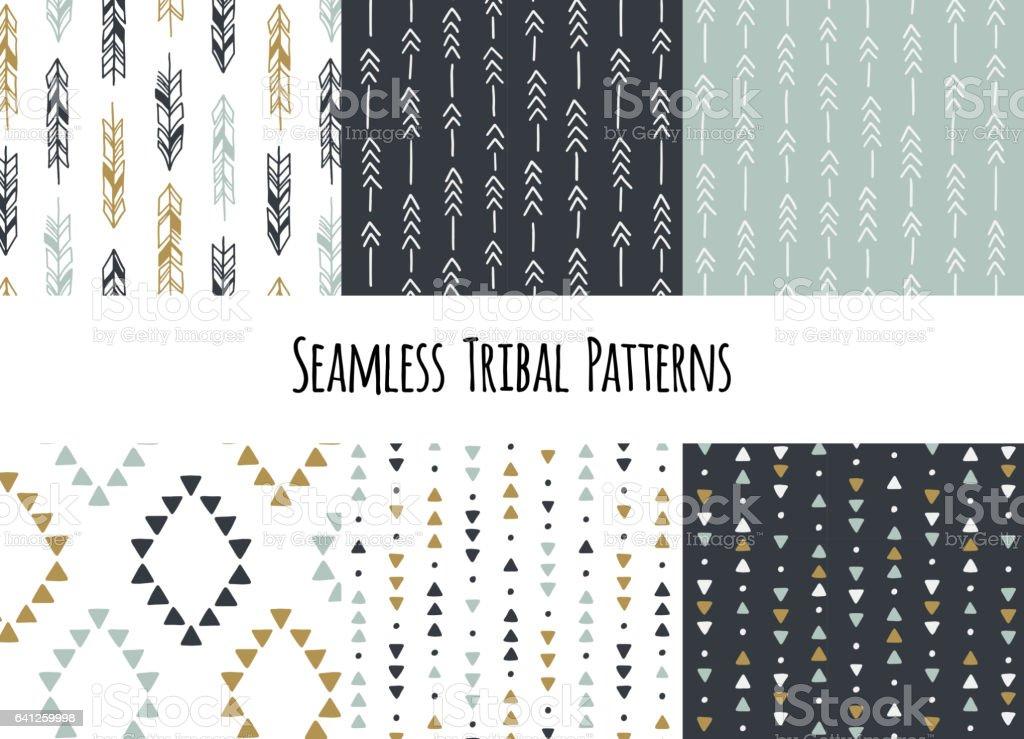 Set of modern seamless hand drawn geometric tribal patterns. Vector navajo design vector art illustration