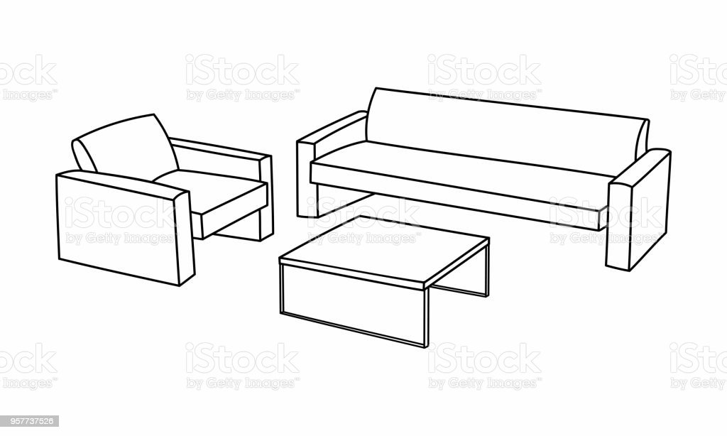Set Of Modern Sofa Icon Design For Living Room. Elements Outline Interior  Symbol By Drawing