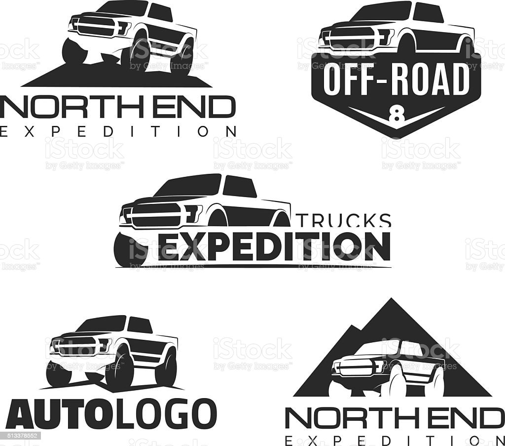 Set Of Modern Suv Pickup Emblems Icons And Badges Stock