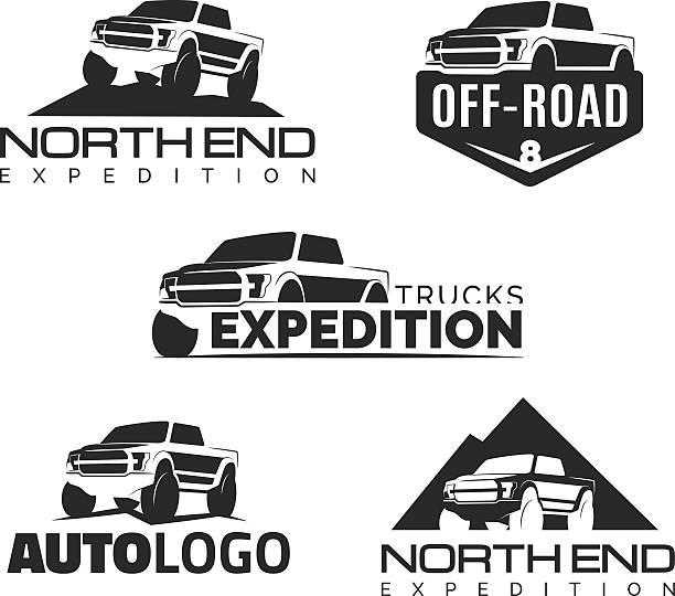 Set of modern suv pickup emblems, icons and badges vector art illustration