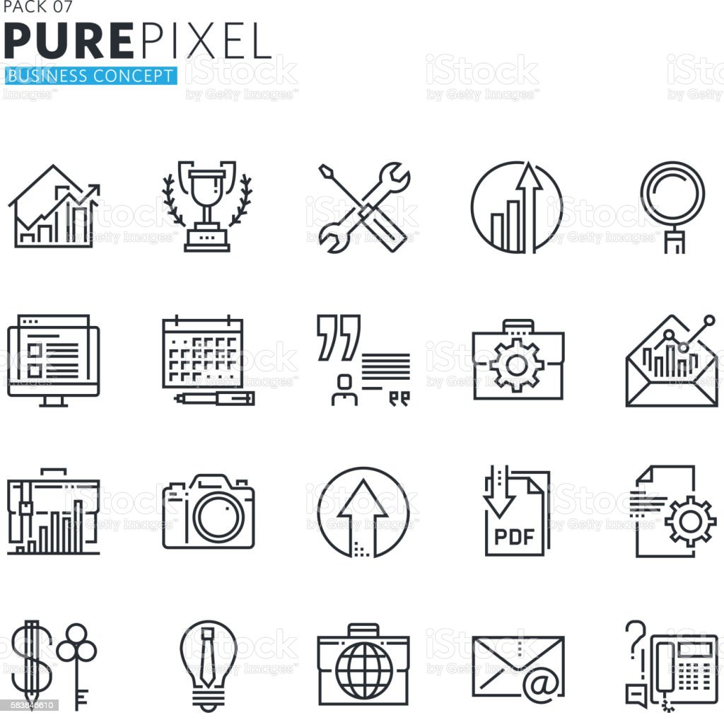 Set of modern thin line pixel perfect business concept icons vector art illustration