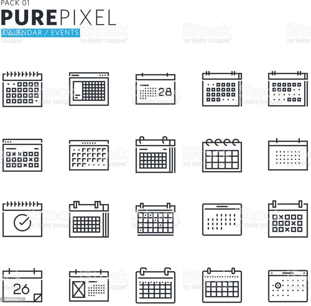Set of modern thin line pixel perfect icons of calendar vector art illustration