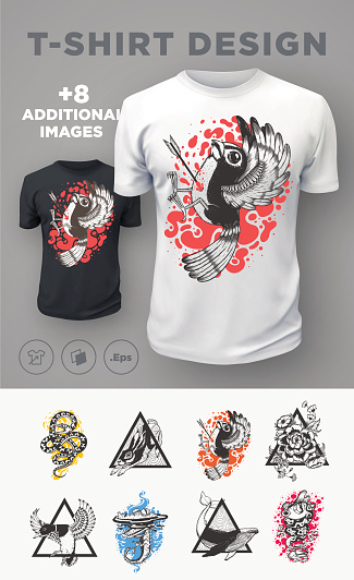 Set of modern t-shirt prints designs with animals.