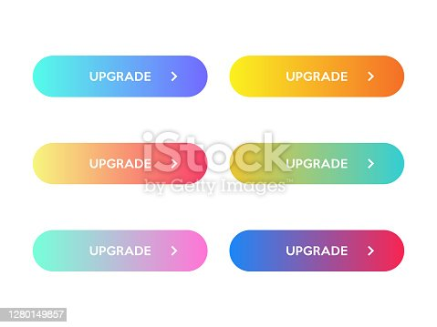 Set of Modern Upgrade Buttons With Gradient