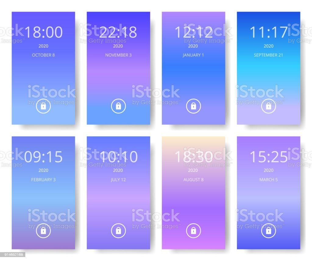 Set Of Modern User Interface Ux Ui Screen Wallpapers For Smart Phone Mobile Application Ultra Violet Purple And Blue Color Gradients Stock Illustration Download Image Now Istock