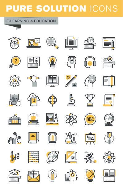ilustrações, clipart, desenhos animados e ícones de moderno conjunto de vetor ícones de educação linha fina - aula de ciências