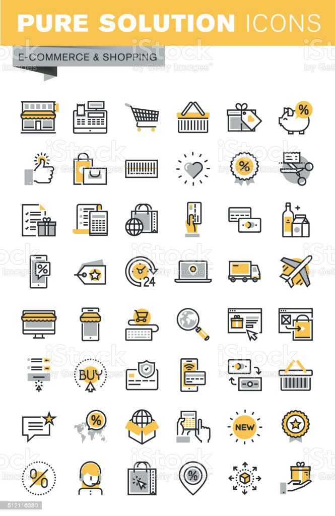 Set of modern vector thin line shopping icons vector art illustration