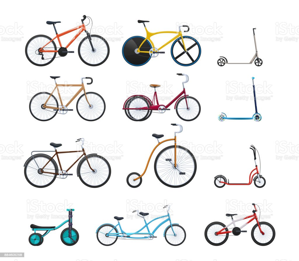 Set of modern vehicles for transportation, different city bicycles vector art illustration