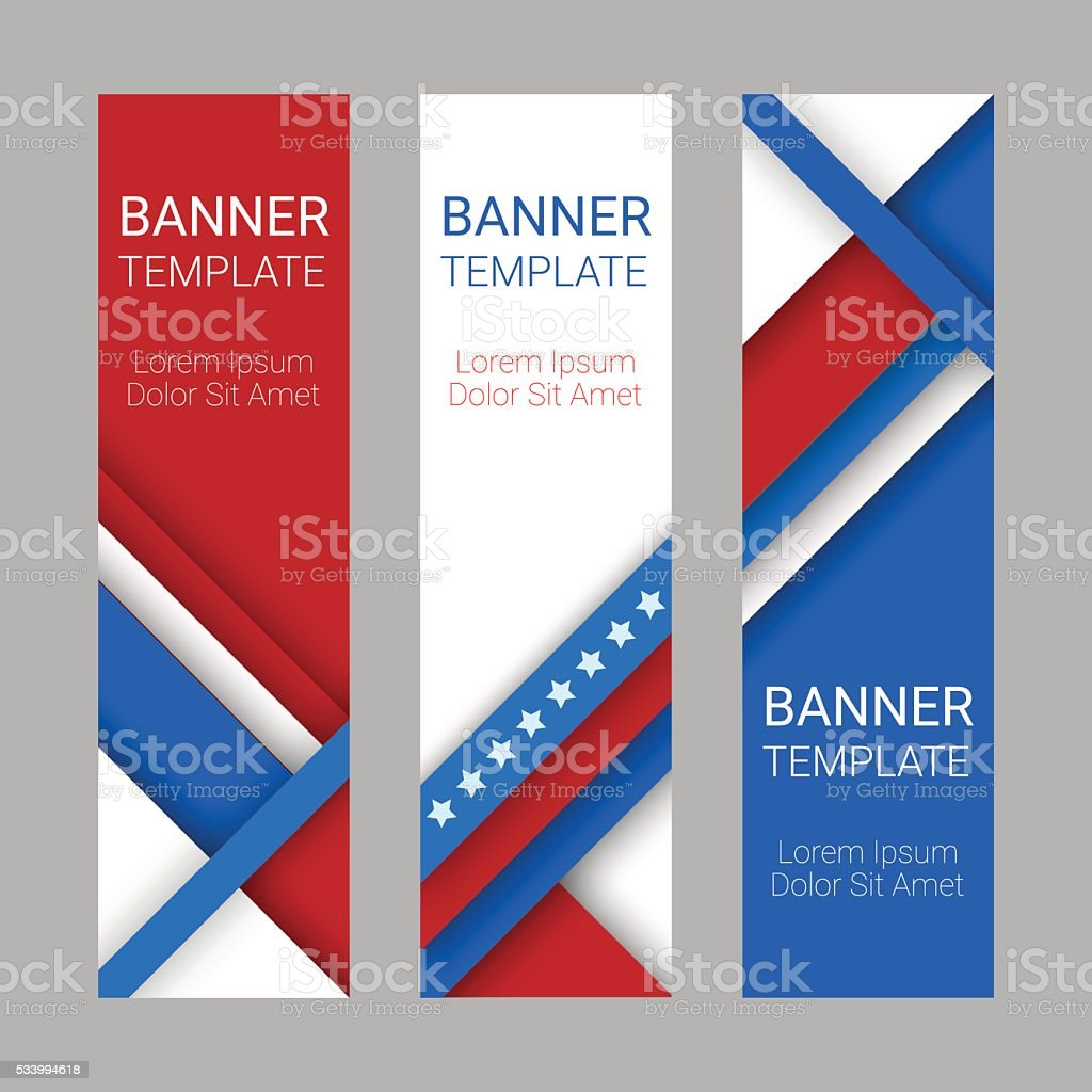 Set of modern vertical banners in colors of USA flag vector art illustration