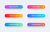 Set of modern web buttons. Colorful buttons. Button for call action. For website and ui design.