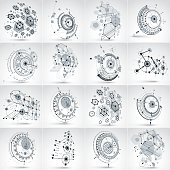 Set of modular Bauhaus 3d vector backdrops, circles and lines.