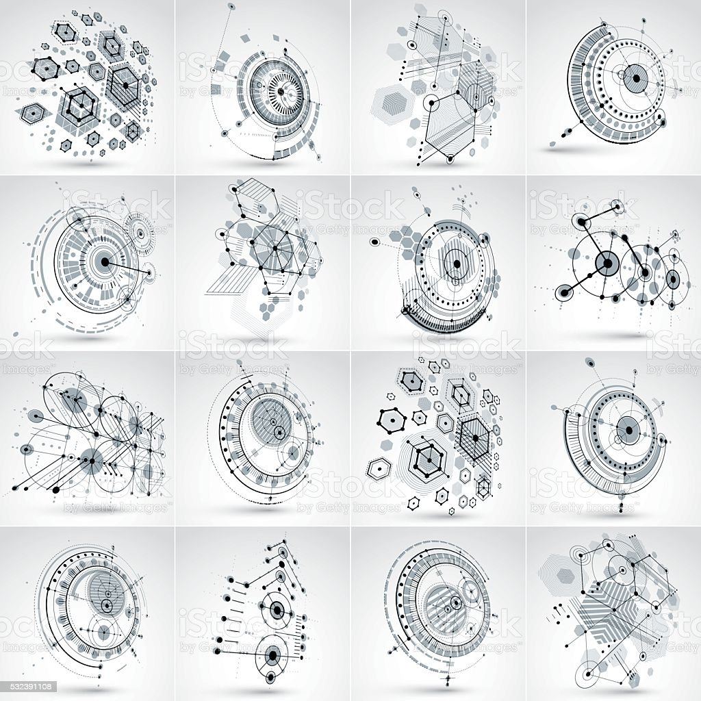 Set of modular Bauhaus 3d vector backdrops, circles and lines. vector art illustration