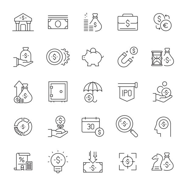 Set of Money and Finance Related Line Icons. Editable Stroke. Simple Outline Icons. Set of Money and Finance Related Line Icons. Editable Stroke. Simple Outline Icons. economic reform stock illustrations