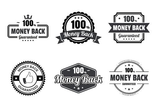 """Set of """"Money Back"""" Black Badges and Labels - Design Elements"""