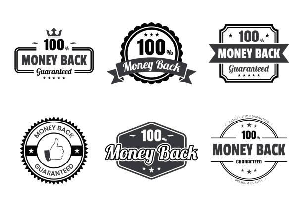 """set von """"money back"""" black badges and labels-design elements - reliability stock-grafiken, -clipart, -cartoons und -symbole"""