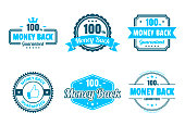 "Set of 6 ""Money Back"" Blue badges and labels, isolated on white background (100% Money Back - Guaranteed, Money Back Guaranteed). Elements for your design, with space for your text. Vector Illustration (EPS10, well layered and grouped). Easy to edit, manipulate, resize or colorize."