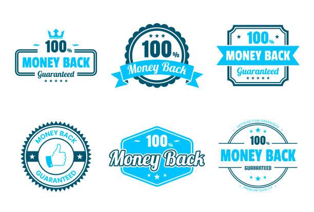 """set von """"geld zurück"""" blaue abzeichen und etiketten - design-elemente - reliability stock-grafiken, -clipart, -cartoons und -symbole"""