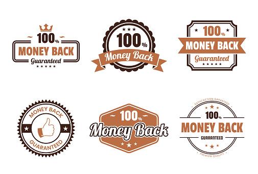 """Set of """"Money Back"""" Brown Badges and Labels - Design Elements"""