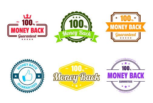 """Set of """"Money Back"""" Colorful Badges and Labels - Design Elements"""