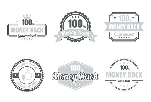 """Set of """"Money Back"""" Gray Badges and Labels - Design Elements"""