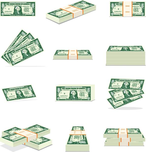 Set of money. Dollar Currency, US Paper Currency, Paper Currency, US Currency, Stack american one hundred dollar bill stock illustrations