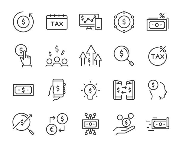 ilustraciones, imágenes clip art, dibujos animados e iconos de stock de conjunto de iconos de dinero, tales como finanzas, declaración, banco, moneda, acciones, moneda, cambio - taxes