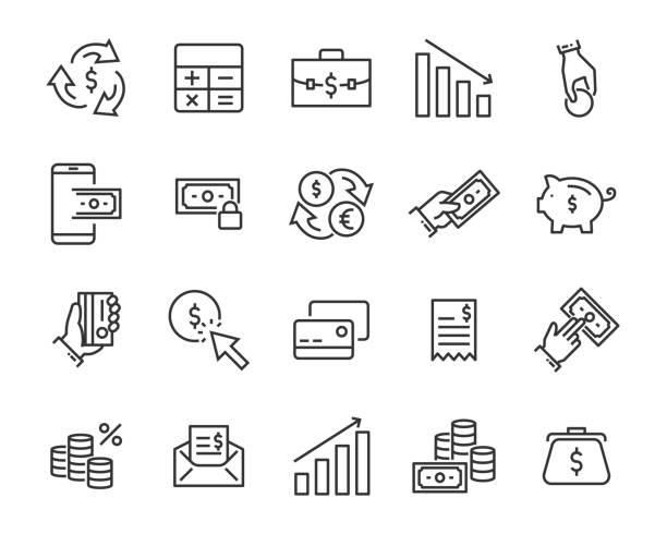 ilustraciones, imágenes clip art, dibujos animados e iconos de stock de conjunto de iconos de la línea de dinero, como moneda, por ciento digital, finanzas, - taxes