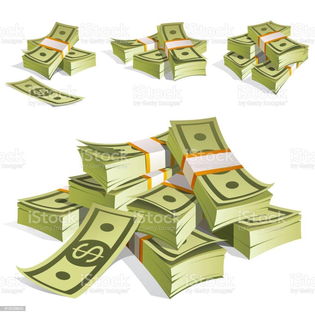 Juego de dinero. Embalaje en paquetes de billetes de banco. Aislado sobre fondo blanco. - ilustración de arte vectorial