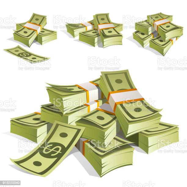 Set Of Money Packing In Bundles Of Bank Notes Isolated On White Background Stock Illustration - Download Image Now
